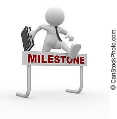Milestone - 3d people - man, person jumping over a hurdle...