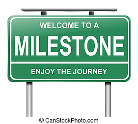 Illustration depicting a sign with a milestone concept.