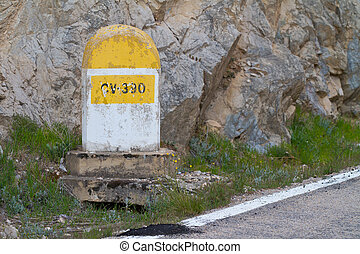 Milestone in the mountains