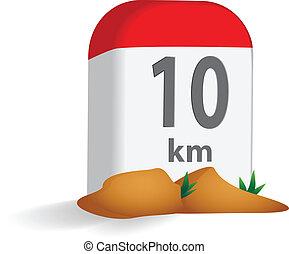 Milestone in the mountains vector illustration