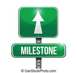 milestone sign post illustration design over a white...