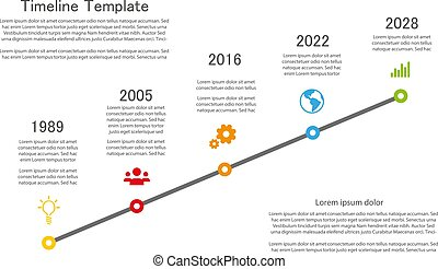 Milestone template with color icons and place for your text