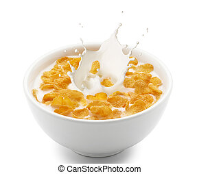 milho, respingo, flocos, leite