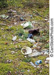 milieu, afval, -, bos, vervuiling