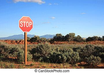 milieu, arrêt, nulle part, signe