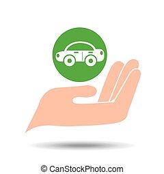 milieu, auto, concept, vriendelijk