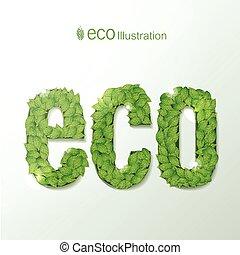 milieu, bladeren, lettertype, groene, illustratie
