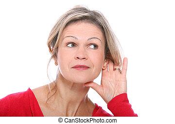 milieu, blond, vieilli, geste, écoute