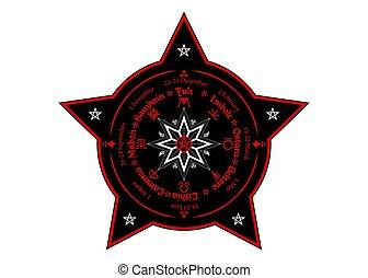 milieu, calendrier, noms, compas, beaucoup, pentagram, ...
