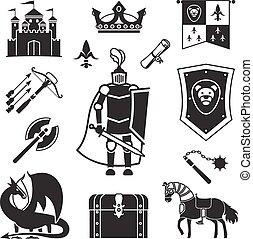 milieu, chevalerie, âges, icônes