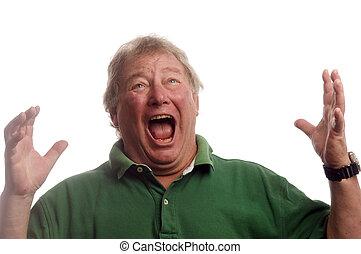 milieu, choc, émotif, âge, crier, personne âgée homme