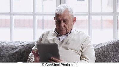 milieu, concentré, tablet., grand-père, toile, vieilli, ...
