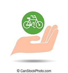 milieu, concept, fiets, vriendelijk