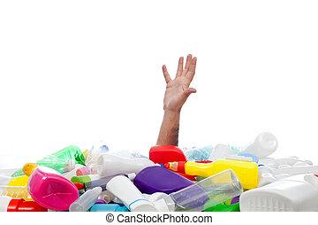 milieu, concept, met, menselijke hand, en, plastic, recipients