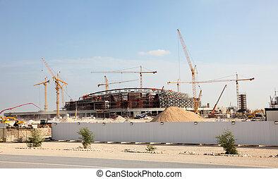 milieu, construction, stade, est, désert, qatar