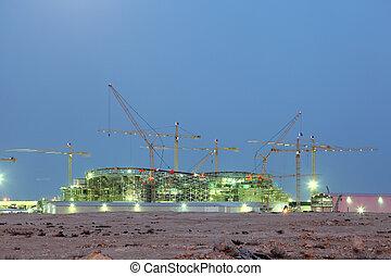 milieu, construction, stade, nouveau, est, désert, qatar