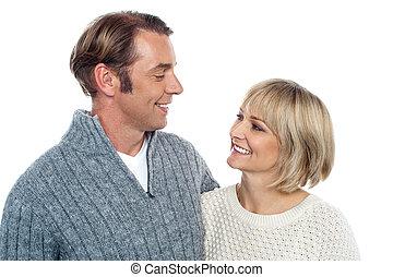 milieu, couple, vieilli, amour, caucasien
