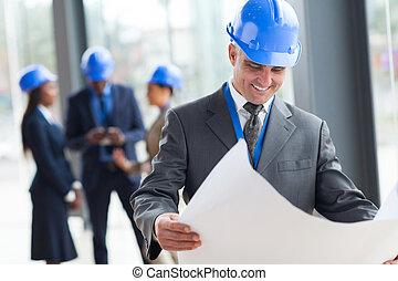 milieu, directeur, construction, vieilli
