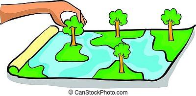 milieu, doodles, slecht, bos, schoonmaken
