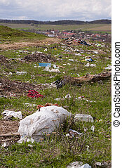 milieu, dumping, vervuiling, -, dorp