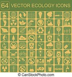 milieu, ecologie, pictogram, set