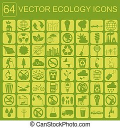 milieu, ecologie, set, pictogram