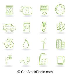 milieu, en, ecologie, iconen