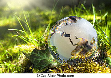 milieu, globe, bescherming, gras, glas