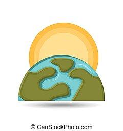 milieu, globe, het verwarmen, pictogram, grafisch
