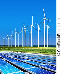 milieu, goedaardig, zonne, panelen