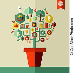 milieu, groene, concept, boompje