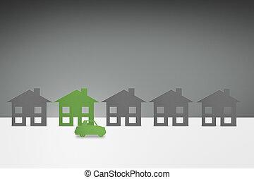 milieu, groene, gezin, woning, en, auto, concept