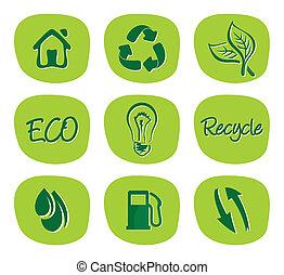 milieu, hergebruiken, groene, iconen