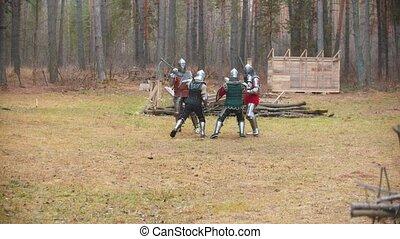 milieu, hommes, quatre, avoir, champ, knightes, forêt, baston