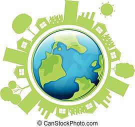milieu, huisen, thema, aarde