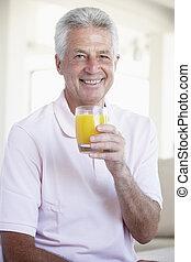 milieu, jus, orange, boire, vieilli, homme