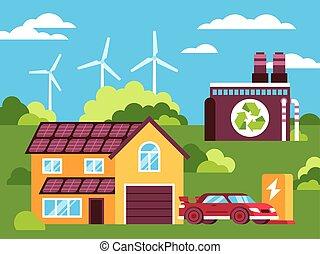 milieu, kleurrijke, groene, schoonmaken, illustratie