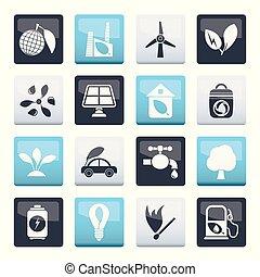 milieu, op, iconen, ecologie, kleuren achtergrond, groene