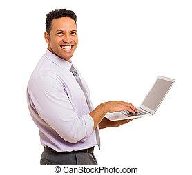 milieu, ordinateur portable, vieilli, homme affaires