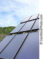 milieu, paneel, installed, in, de, akker, en, doorwerken, zonnekracht