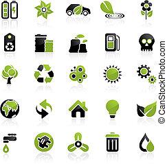 milieu, pictogram, set