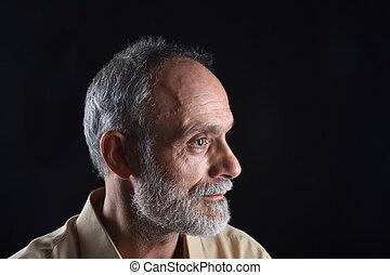 milieu, portrait, noir, vieilli