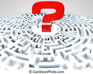 milieu, question, labyrinthe, marque