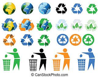 milieu, recycling, iconen