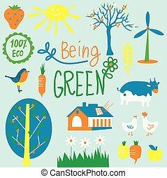 milieu, set, eco, energie, -, bloemen, agriculrure, symbolen, vriendelijk