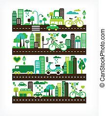 milieu, stad, ecologie, -, groene