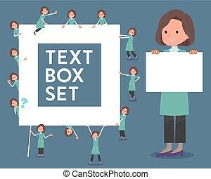 milieu, texte, bleu, femmes, tunique, vert, boîte, type, plat