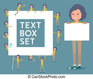 milieu, texte, femmes, jaquette jaune, boîte, type, plat