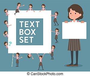 milieu, texte, femmes, veste, boîte, type, rose, plat