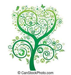 milieu, thema, ontwerp, natuur